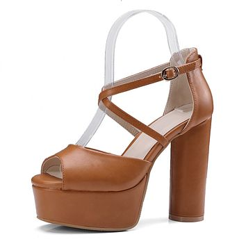 Peep Toe Platform Sandals Block Heels for Women 4466