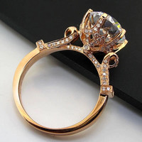 Big Stone!! Test Real Moissanite Gold Ring Solid 14K Rose Ring 5CT Moissanite Engagement Ring For Women Royal Bridal Jewelry H55