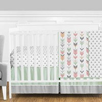 Grey, Coral and Mint Woodland Arrow 4 Piece Girls Crib Bed Bedding Set Without Bumper