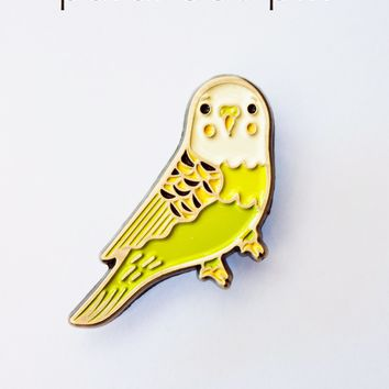 Green Budgie Enamel Pin by boygirlparty - Green Parakeet Pin / Budgerigar Pin