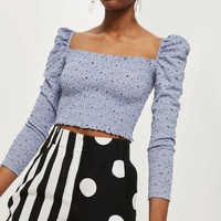 Daisy Lace Shirred Top - T-Shirts - Clothing