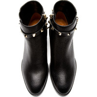 Black Leather Rockstud Strapped Ankle Boots42476F128005