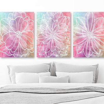 WATERCOLOR Flower Art, Watercolor Painting Pastel Flower CANVAS or Print, Abstract Wall Hanging, Pastel Bedroom Art Bathroom Decor Set of 3
