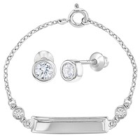 925 Sterling Silver Clear CZ Jewelry Set Screw Back Earrings Bracelet for Girls