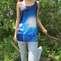 Outer space tshirt, space tshirt,universe tank top,galaxy tshirts, starry sky sleeveless women tshirt with all sizes