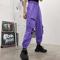 Purple Cargo Jogger Pants