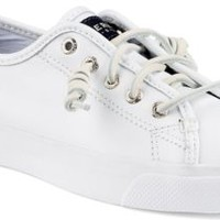 Sperry Top-Sider Seacoast Leather Sneaker White, Size 5.5M  Women's Shoes