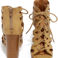 Life's a Party Khaki Caged Lace-Up Heels