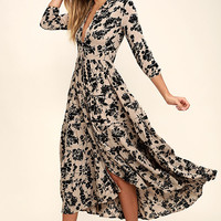 Amuse Society Weston Taupe Floral Print Midi Dress