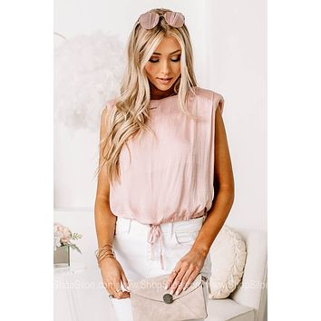 From First Glance Blush Sleeveless Top